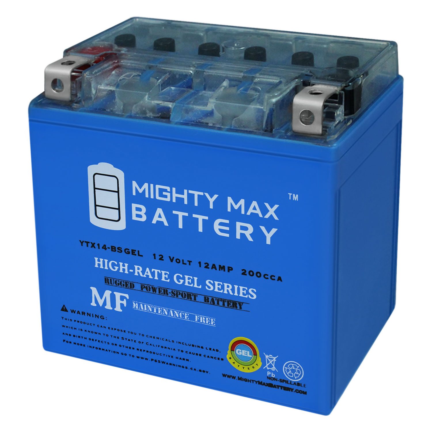 12V 2Amp Charger Mighty Max YTX14L-BS 12V 12AH Battery for Harley 1200CC 2008